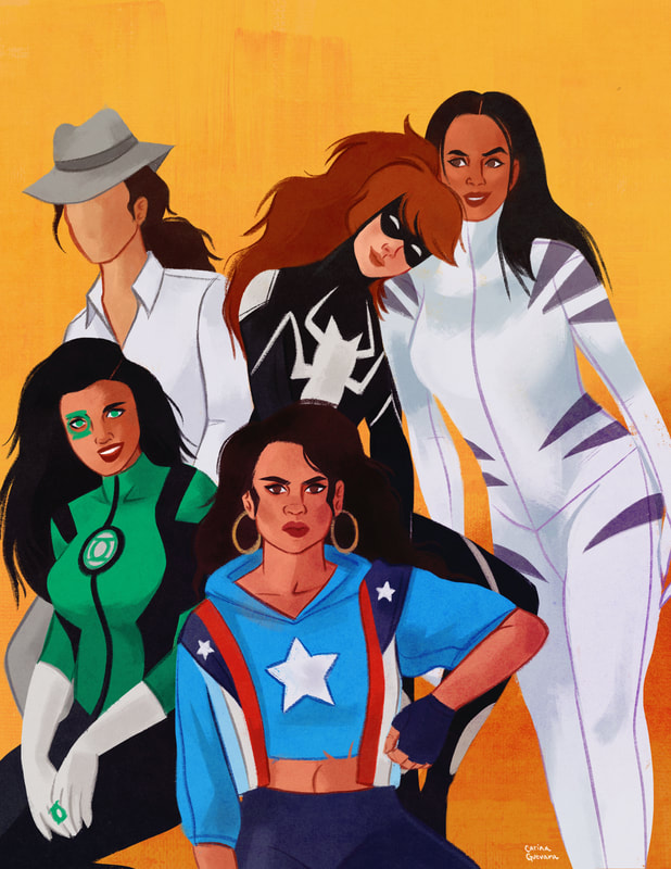 Portrait of female Latinx Superheroes  America Chaves (Miss America), Jessica Cruz (Green Lantern), Renee Montoya (The Question), Anya Corazón (Spider-Girl), Ava Ayala (White Tiger)